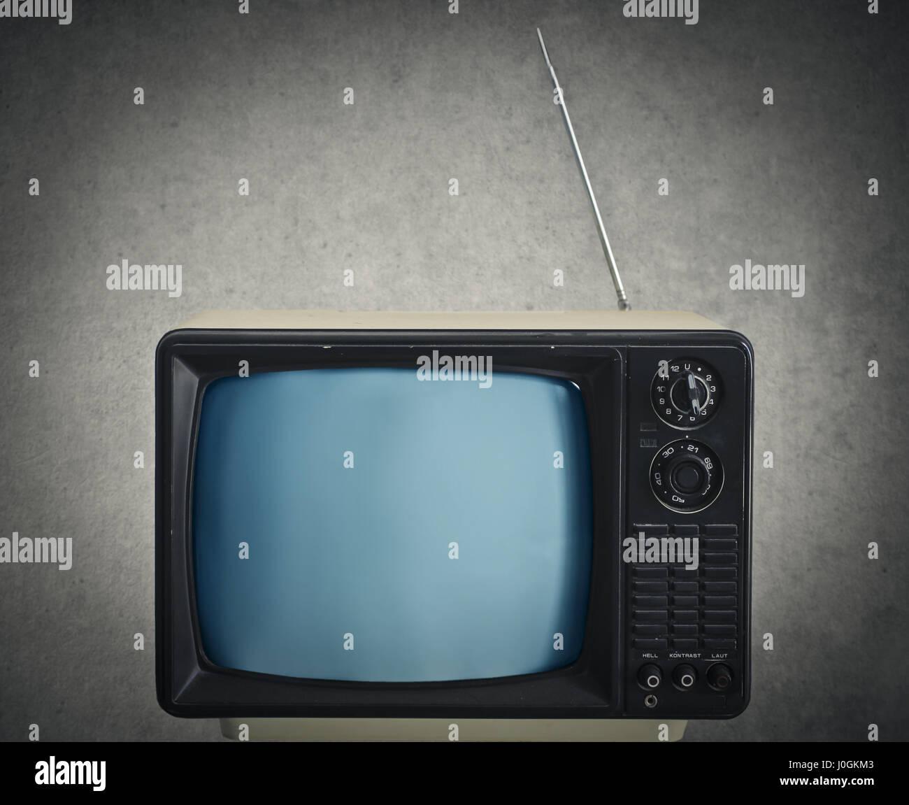 Old Tv in room Stock Photo