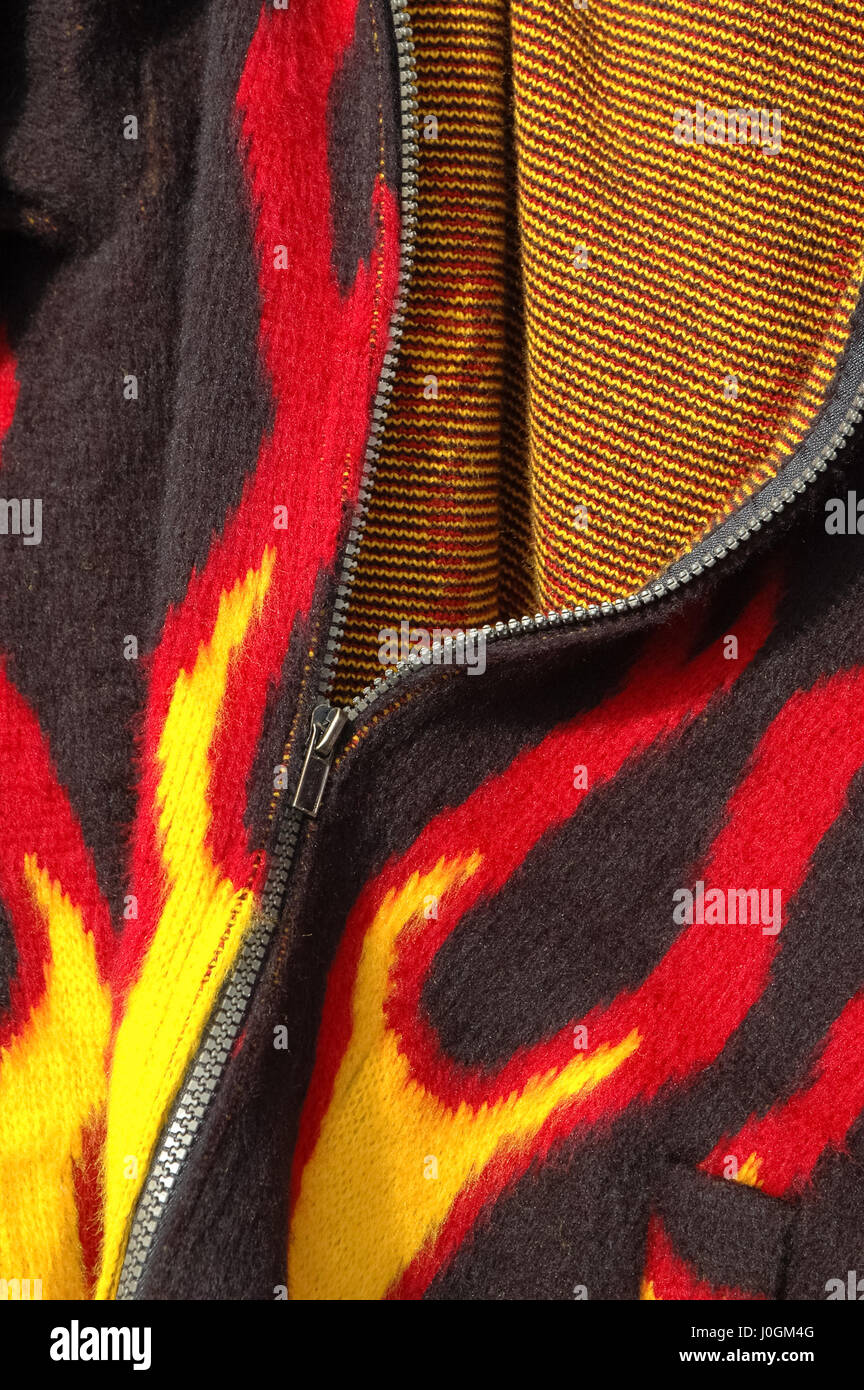 flame print clothing close-up - Stock Image