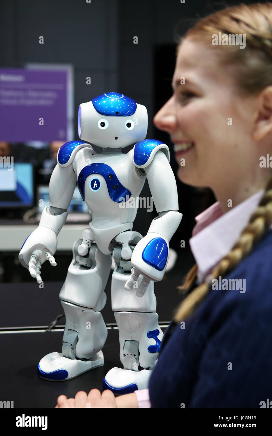 """Hanover, Germany. 19th March, 2017.  Robot """"Marvin"""", Type Nao (developed by Aldebaran Robotics), controled by IBM Watson (super computer for artificial intelligence). The robot can talk and answer questions. CeBIT 2017, ICT trade fair, lead theme """"d!conomy - no limits"""". Photocredit: Christian Lademann Stock Photo"""