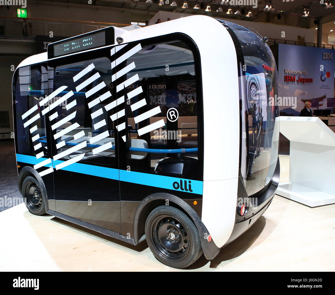 """Hanover, Germany. 19th March, 2017. Self-driving electric minibus """"Olli"""", developed by Local Motors in cooperation Stock Photo"""