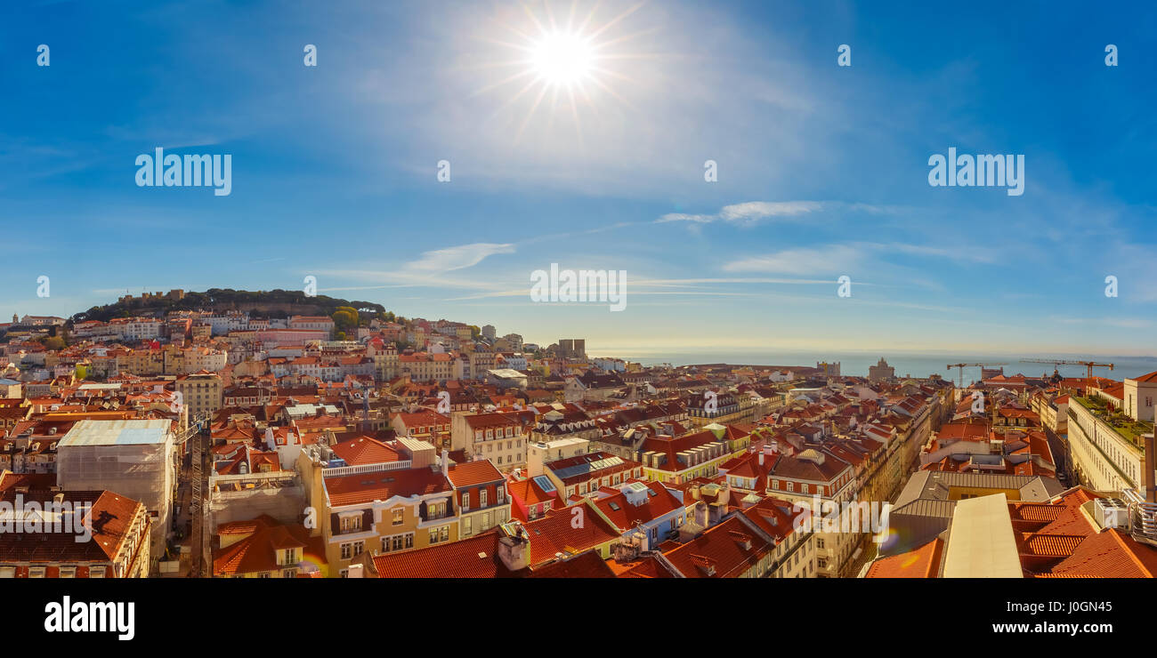 Aerial panoramic view of Castle of Sao Jorge and the historical centre of Lisbon on the sunny afternoon, Lisbon, - Stock Image
