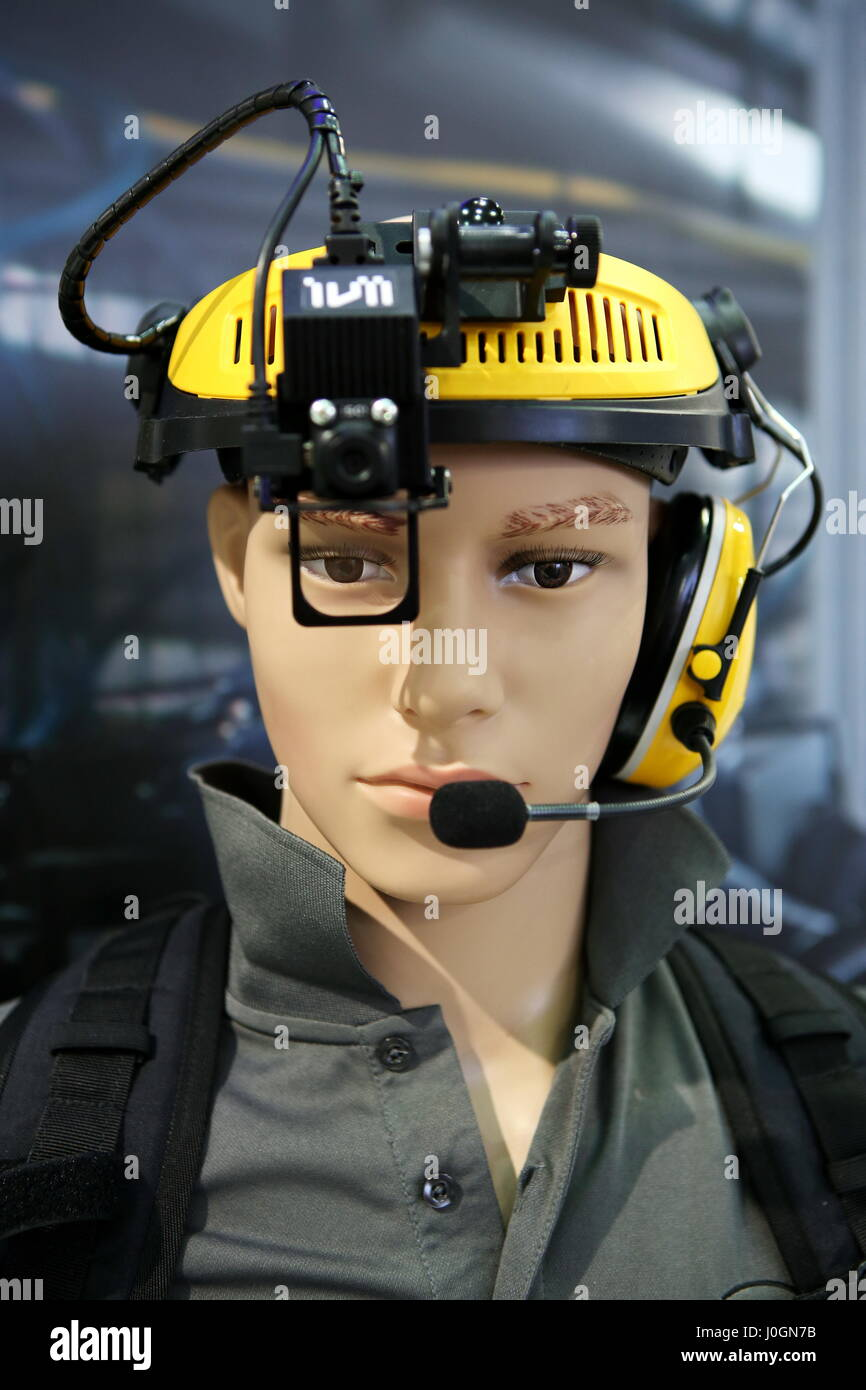 """Hanover, Germany. 20th March, 2017. Headset ivii.worker of ivii GmbH (Austria) allows with Augmented-Reality-Technology the realtime-communication between technician and callcenter. Headset with integrated camera, See-through-Display, microphone and earphone. CeBIT 2017, ICT trade fair, lead theme """"d!conomy - no limits"""". Photocredit: Christian Lademann Stock Photo"""