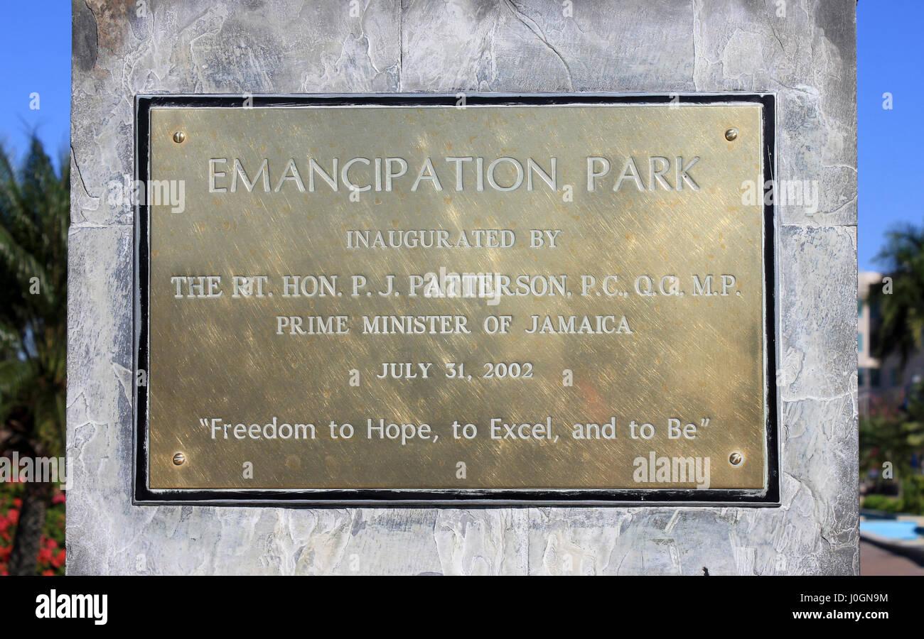 Emancipation Park Inauguration Sign - Stock Image