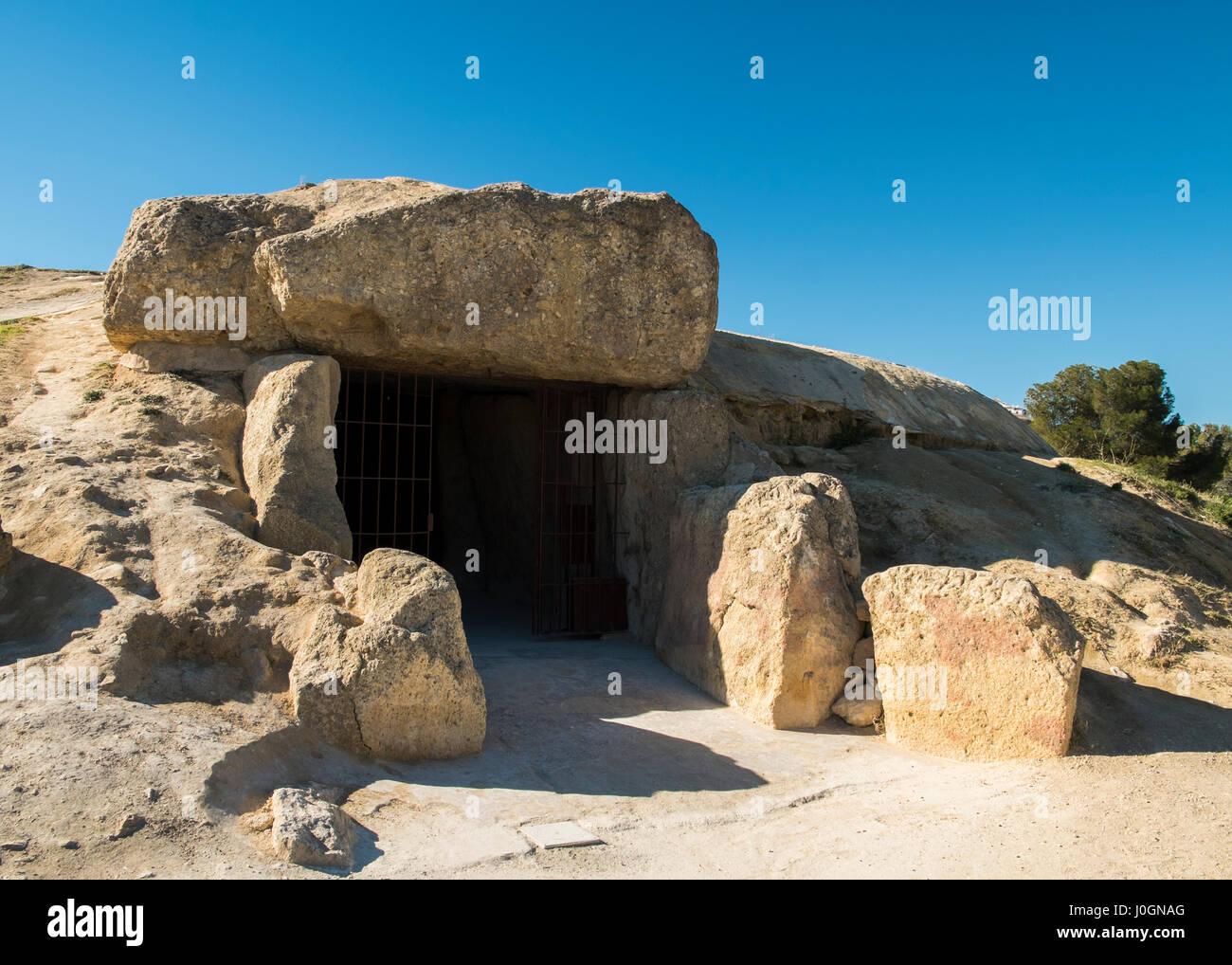 Menga Dolmen. Antequera, Málaga province, Andalusia, Spain - Stock Image