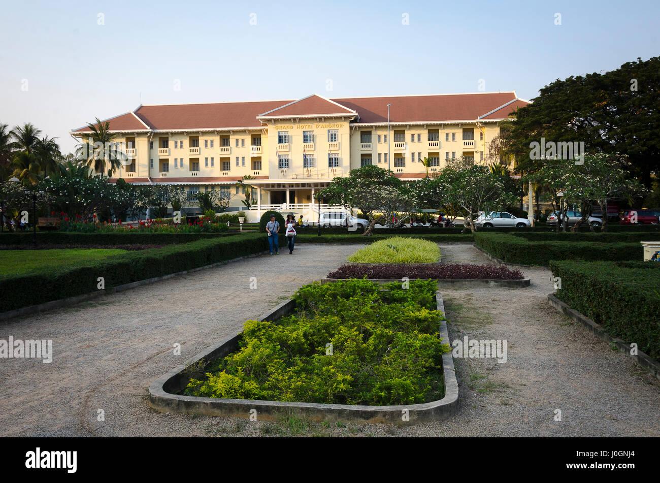 Raffles Grand Hotel D Angkor Royal Gardens Siem Reap Cambodia Stock Photo Alamy