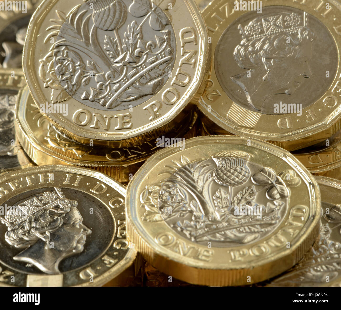 New £1 coin is 12 sided and is the most secure coin in the world - British new £1 coin is bimetallic with latent Stock Photo