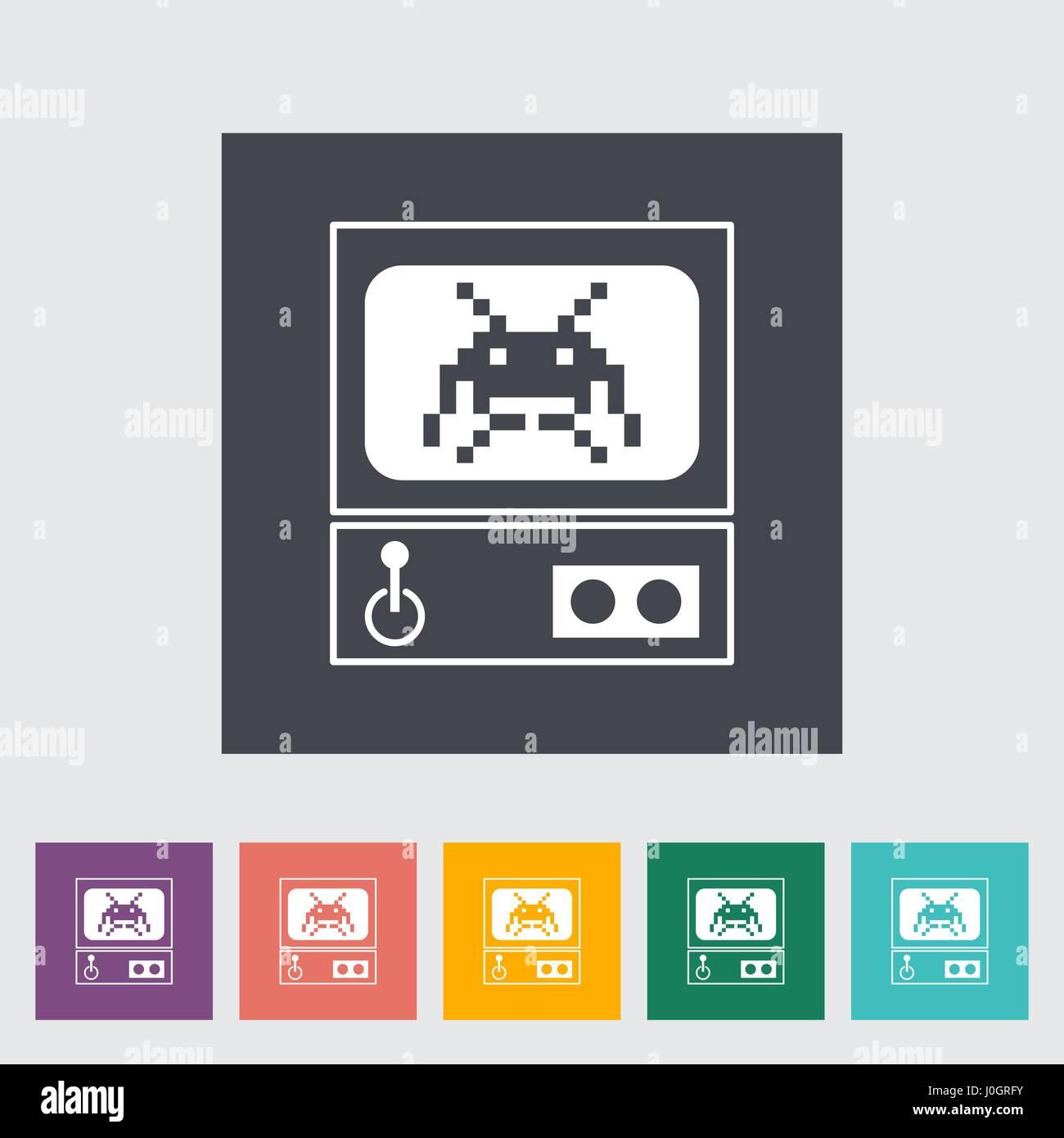 Retro Arcade Machine. Single flat icon on the button. Vector illustration. - Stock Vector