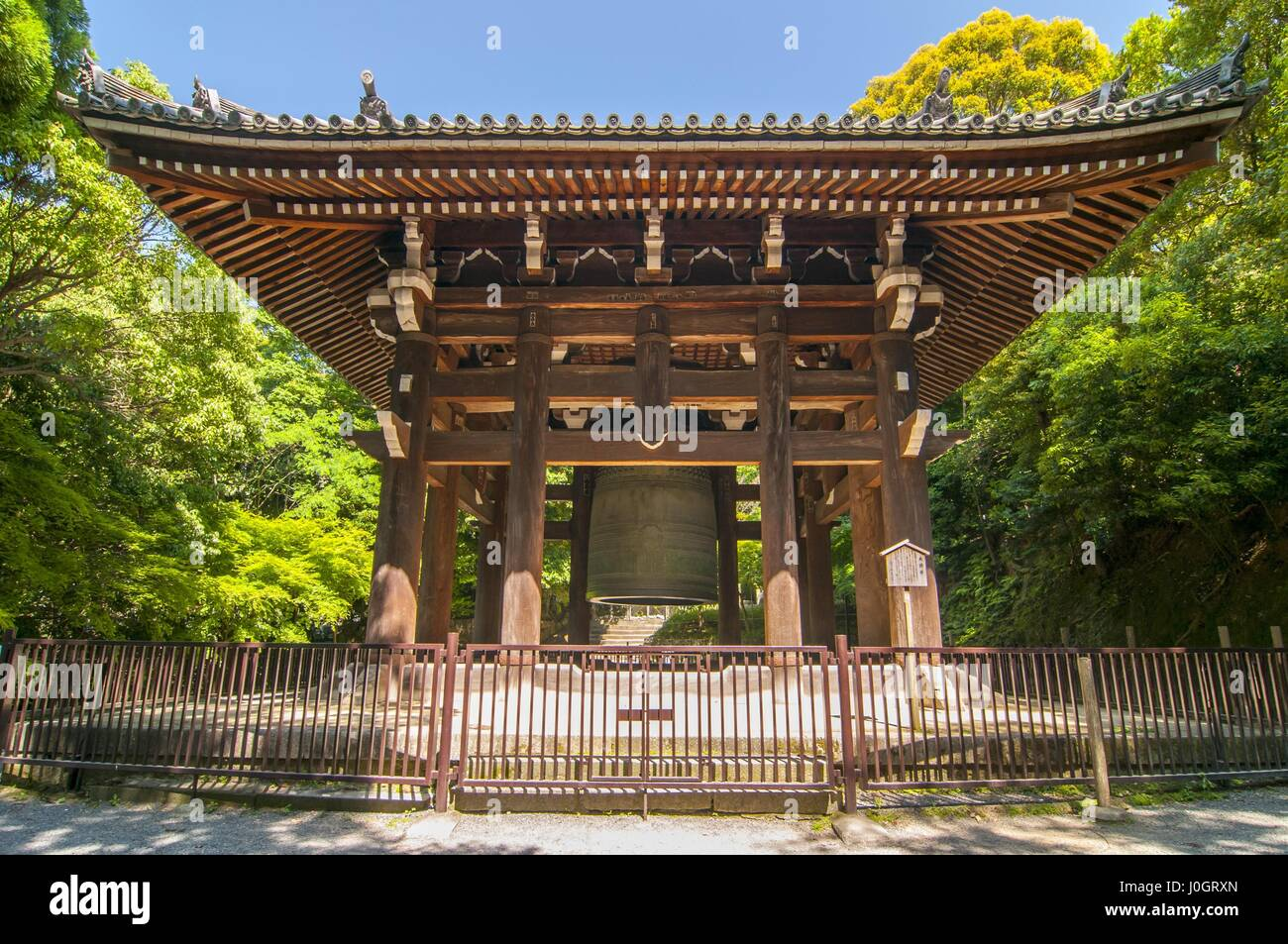 The largest bronze bell in Japan is this one at Chion-in Temple in the Higashiyama district of Kyoto - Stock Image