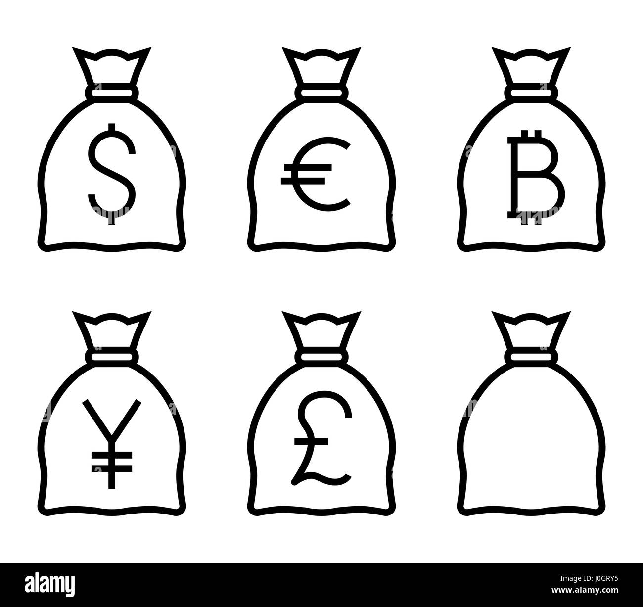 Bags with Money Thin Line Vector Icon. Flat icon isolated on the white background. Editable EPS file. Vector illustration. - Stock Image