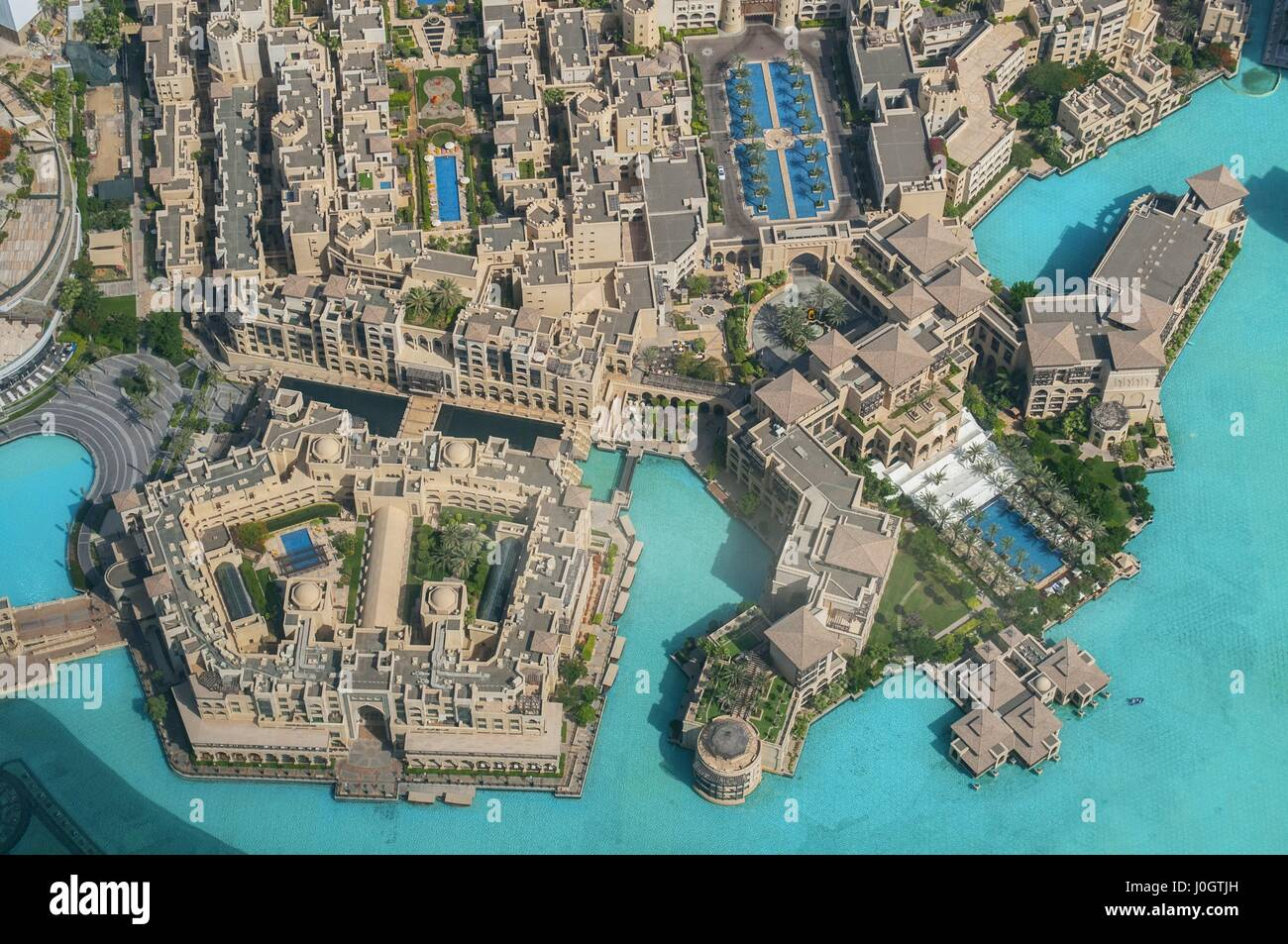 aerial view of downtown dubai from the tallest building in the world burj khalifa dubai united arab emirates