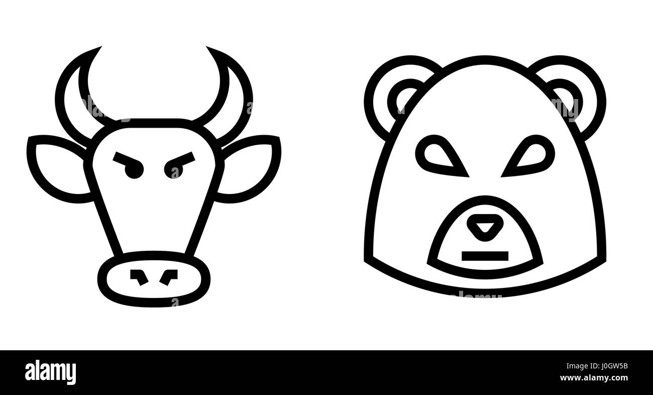 Stock Market Bulls and Bears Thin Line Vector Icon. Flat icon isolated on the white background. Editable EPS file. - Stock Vector