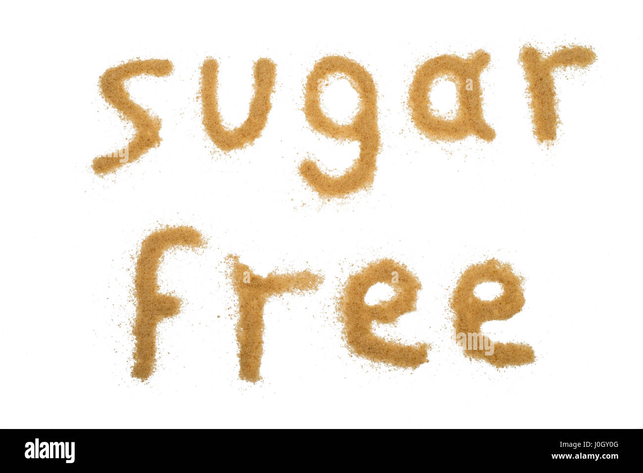 word sugar free written with brown granulated sugar isolated - Stock Image