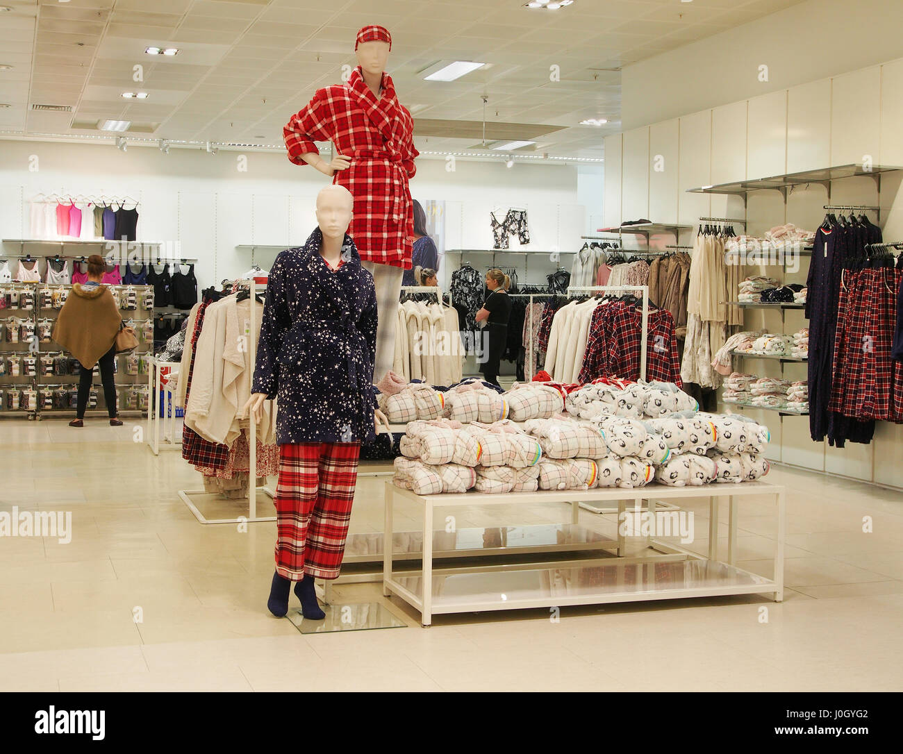 Interior of the Manchester branch of department store Marks & Spencer shop shops in the city centre center showing - Stock Image
