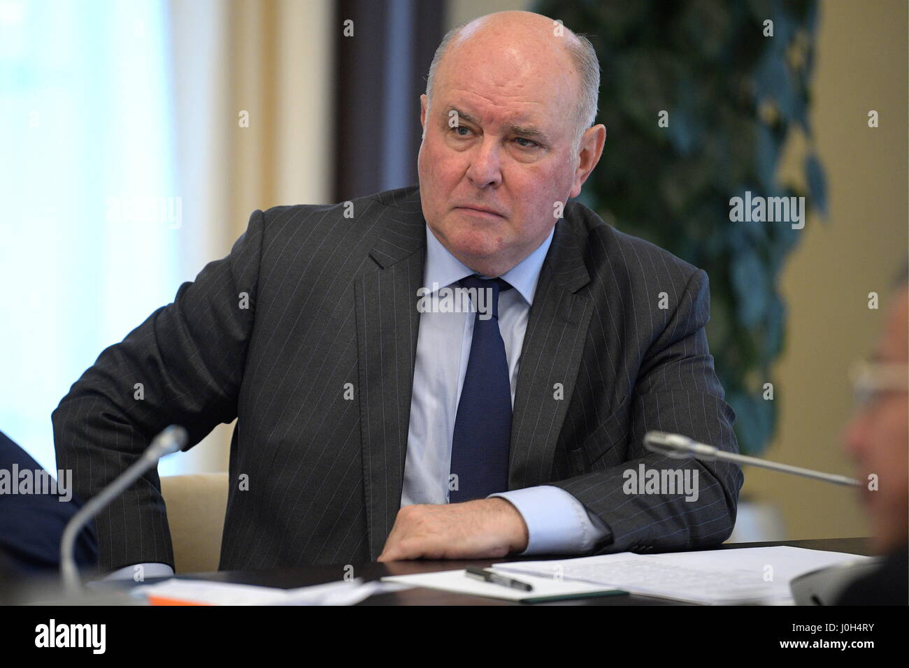 Moscow Region, Russia. 13th Apr, 2017. Russia's Deputy Foreign Minister Grigory Karasin seen during a meeting - Stock Image