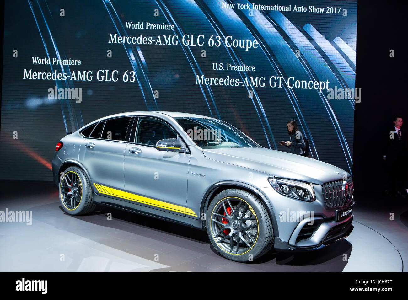 New York, USA. 12th Apr, 2017. Mercedes new GLC 63S Coupé, with a 3.98L, V8 engine, delivering 510hp into a - Stock Image