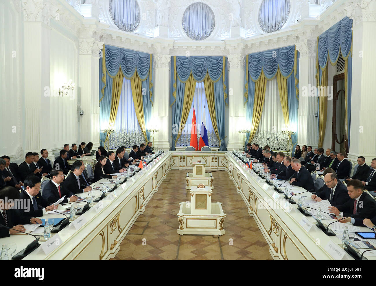Moscow, Russia. 12th Apr, 2017. Chinese Vice Premier Zhang Gaoli and Russian First Deputy Prime Minister Igor Shuvalov co-chair the fourth meeting of the China-Russia Investment Cooperation Committee in Moscow, Russia, April 12, 2017. Credit: Wang Ye/Xinhua/Alamy Live News Stock Photo