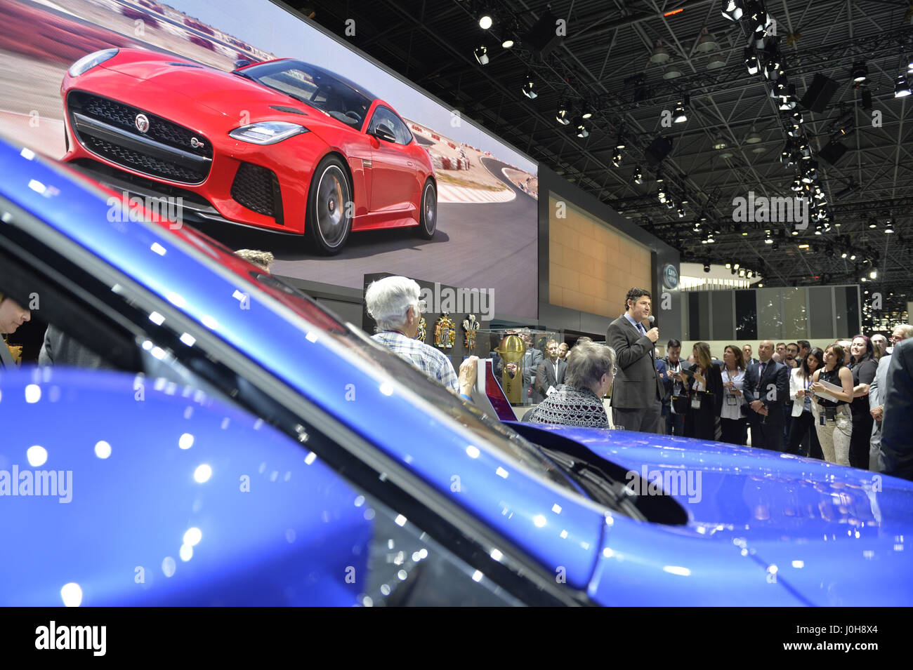 Manhattan, New York, USA. 12th Apr, 2017. STUART SCHORR, Vice President Of  Communications, Jaguar Land Rover North America, Seen Holding Microphone  Behind ...