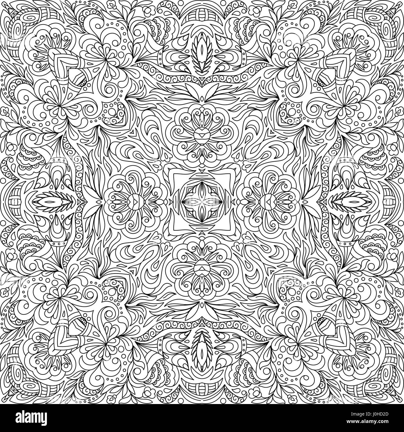 Square coloring book page for adults - floral authentic ...