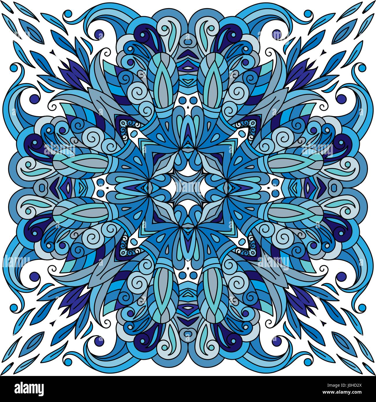 Ornamental doodle floral pattern, design for pocket square, textile, silk shawl, pillow, scarf. Blue ornament on Stock Vector