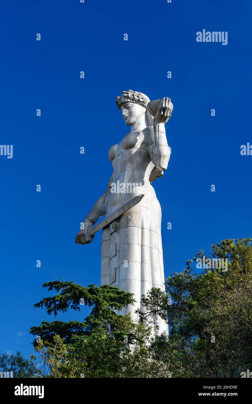 Tbilisi, Georgia - September 24, 2016: Statue of Mother Georgia, Kartlis Deda on the top of Sololaki hill Stock Photo