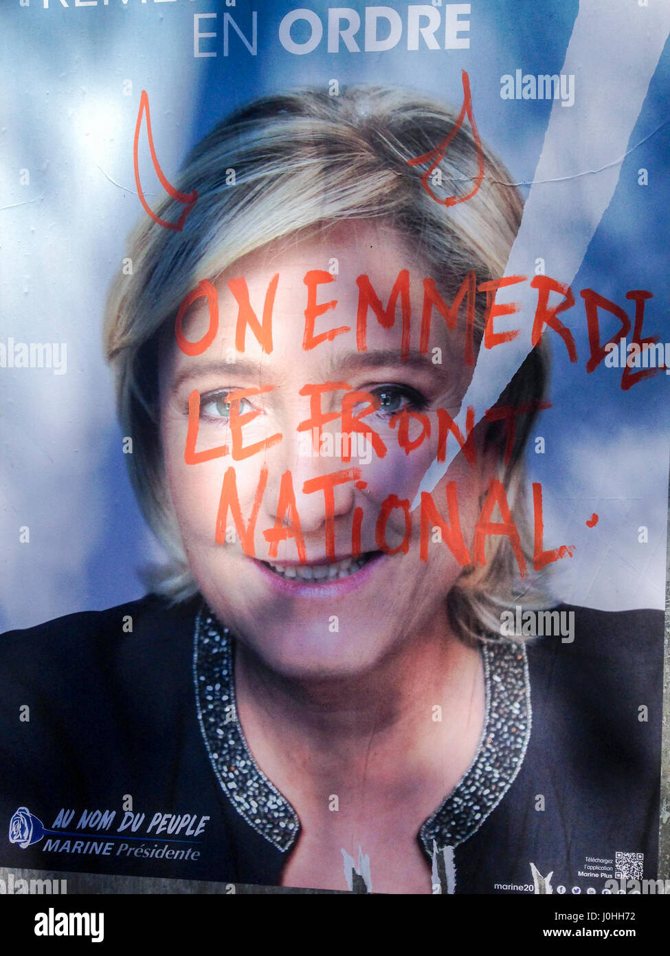 Antony, France, Defaced Political Elections French Poster, National Front, Marine Le Pen - Stock Image