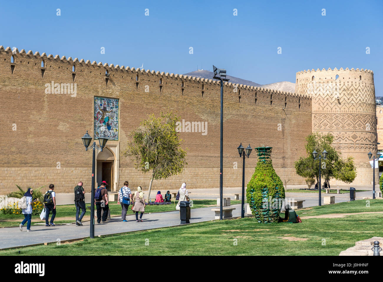 Walls of Castle of Karim Khan citadel (Arg-e Karim Khan) build during Zand dynasty in Shiraz city, capital of Fars - Stock Image