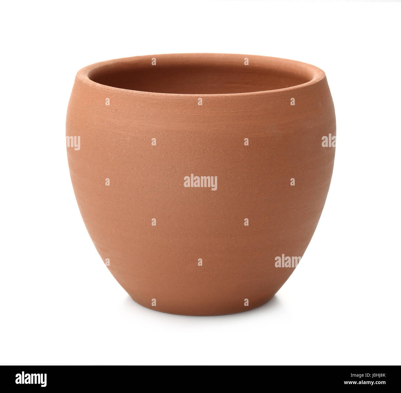 Empty unpainted clay pot isolated on white - Stock Image