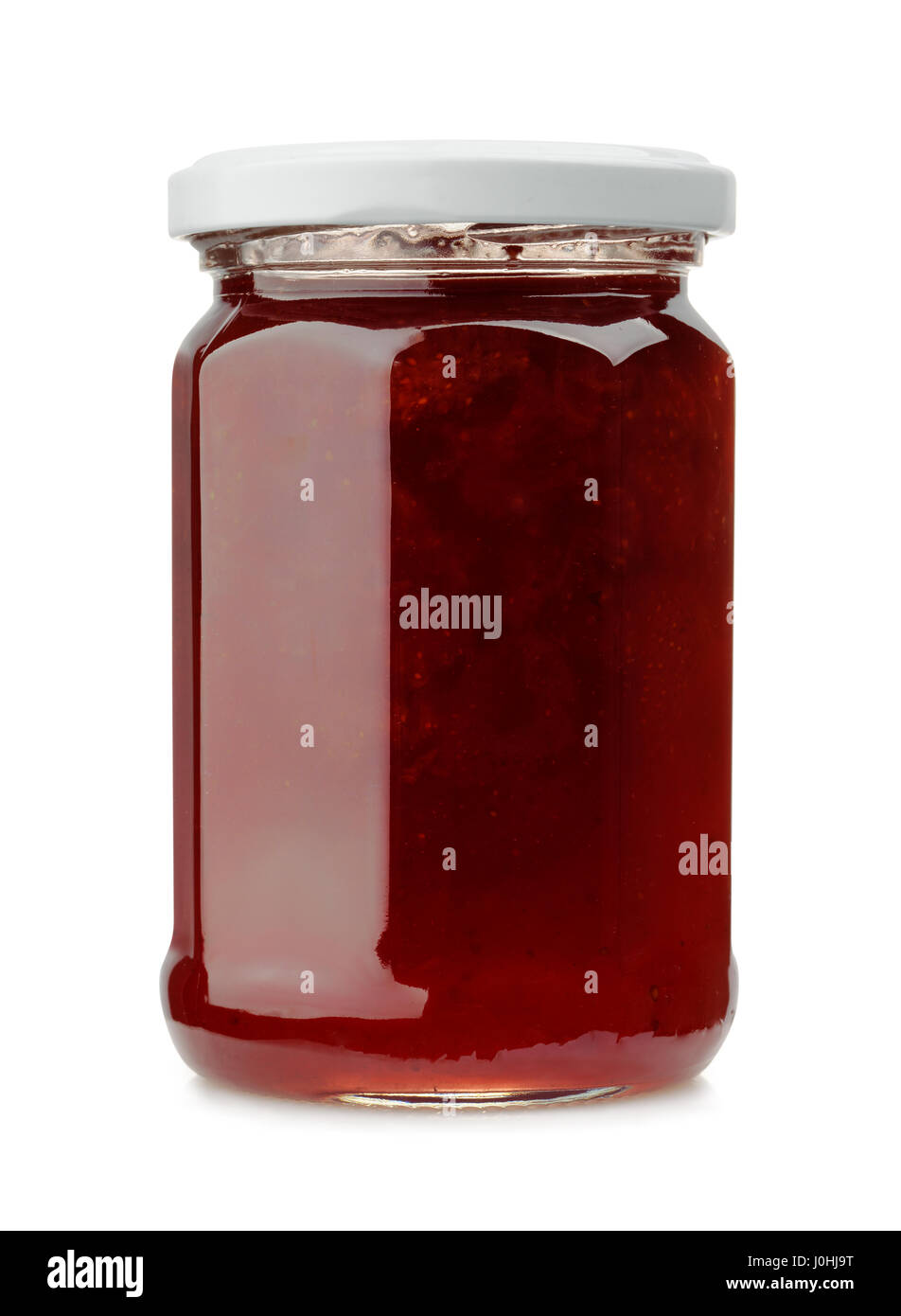 Front view of strawberry jam jar isolated on white - Stock Image