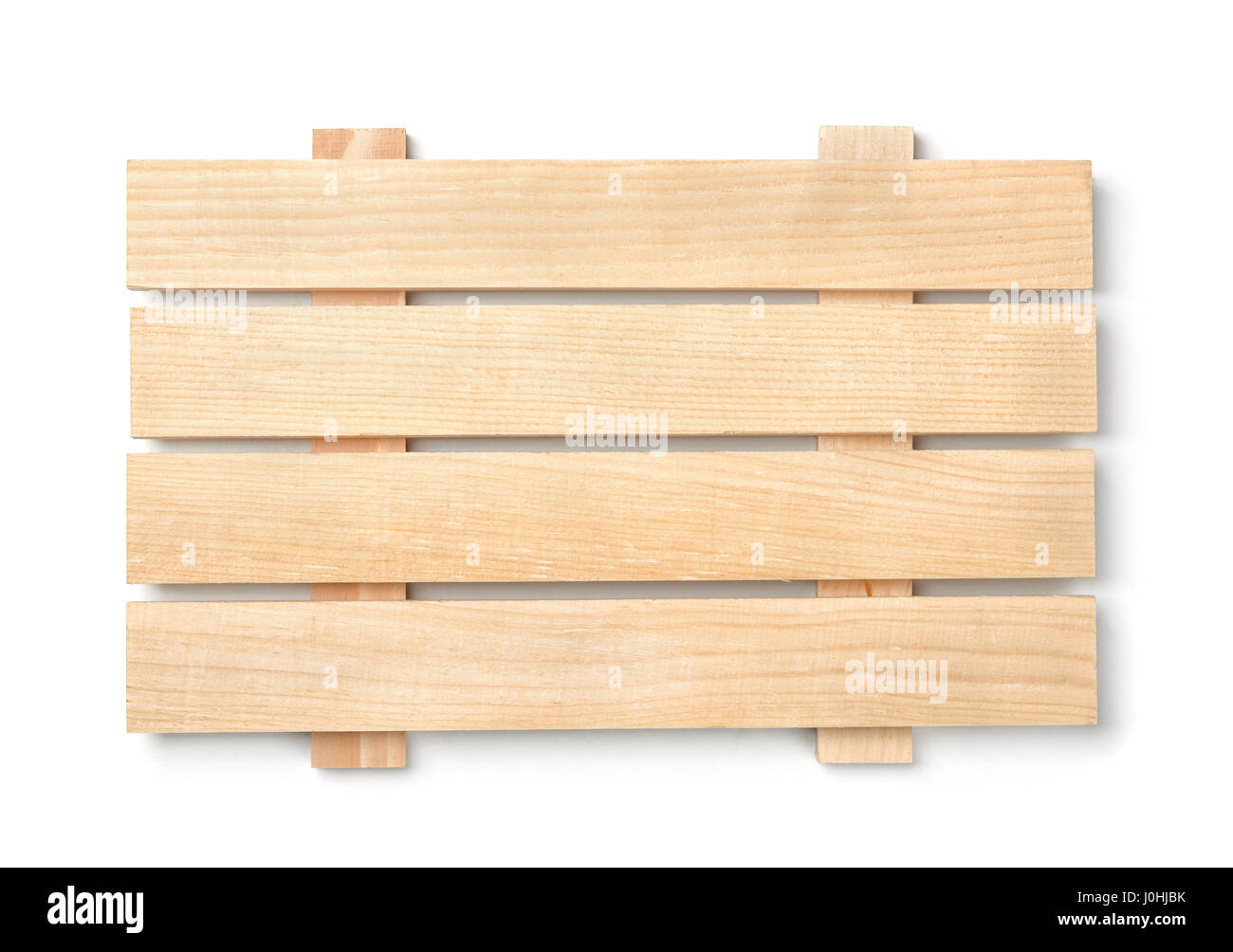 Wood slatted plank board isolated on white - Stock Image