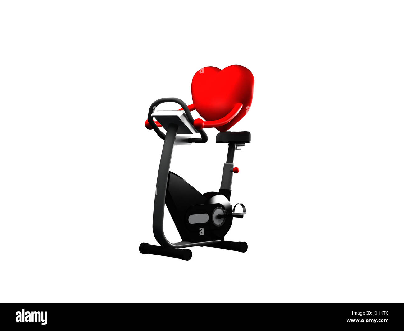 Red Heart Working out on Elliptical, exercising for health on white background - Stock Image