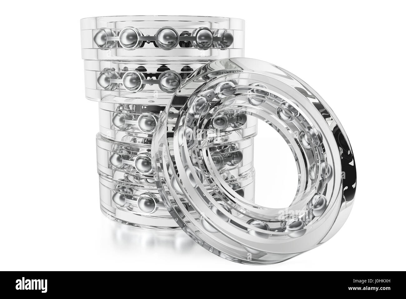 Glass bearings on a white background from different point of view. 3d rendering - Stock Image