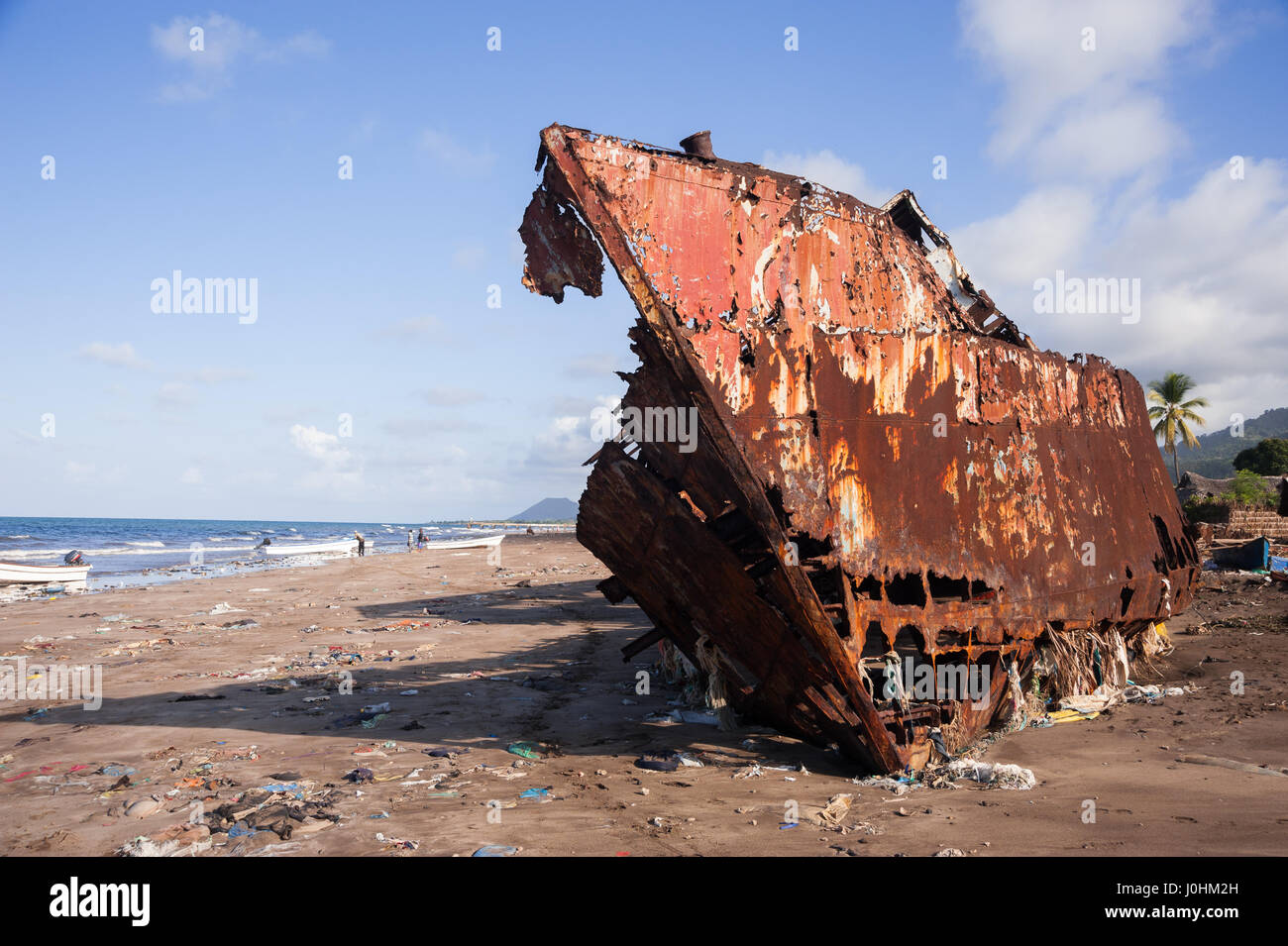 A ship wreck on the Indian Ocean island of Moheli, also known as Mwali,  the smallest of the Comoros' three - Stock Image