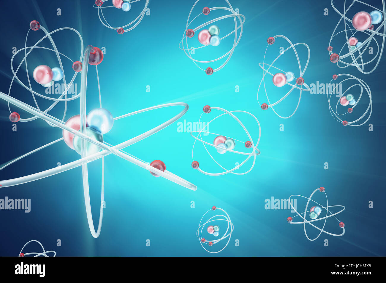 Atom Background, Shining Nuclear Model Atoms And Electrons