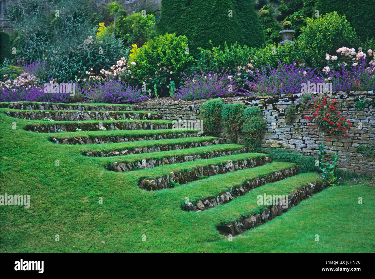 Grass steps with a border of flowers growing along the terrace in the south lawn at Misarden Park - Stock Image