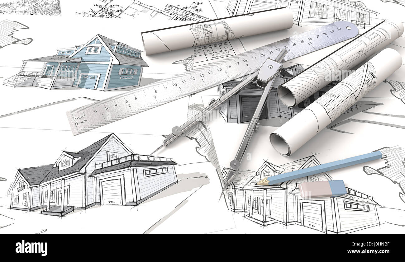 Top view of architectural house blueprints drawings and sketches top view of architectural house blueprints drawings and sketches rolls ruler pencil eraser and divider of metal3d render malvernweather Images