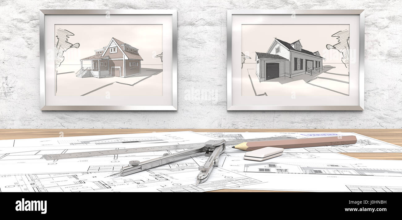 Generic Architectural blueprints on table. 2 Picture Frames on white concrete Wall with house sketches. Ruler, Pencil - Stock Image