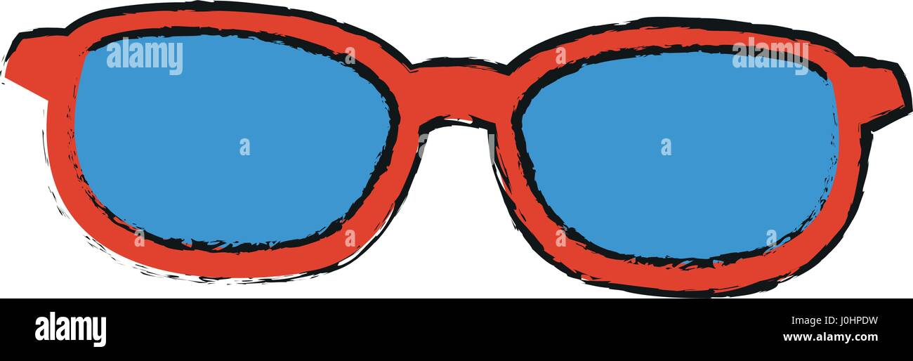 a6fb871a9a4 sunglasses with red frame and blue lenses icon image - Stock Image