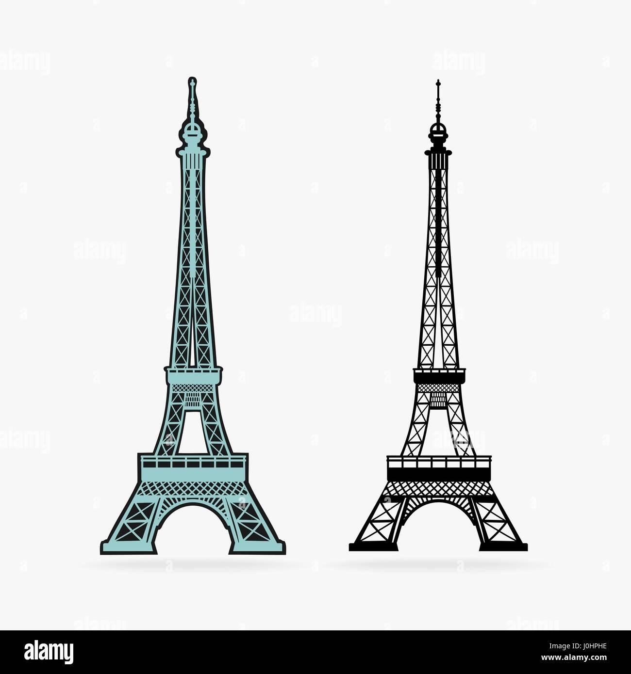 Vector Symbol Eiffel Tower - Stock Vector