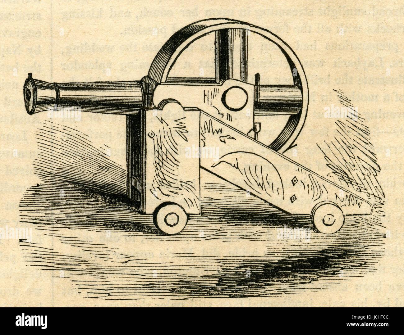 Antique 1854 engraving, 'Cochran's Revolving Cannon.' Cochran's revolving cannon was to have made - Stock Image