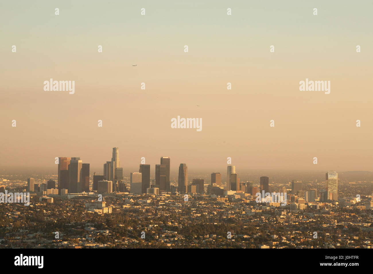 View of Downtown LA and around, from the Griffith Observatory - Stock Image
