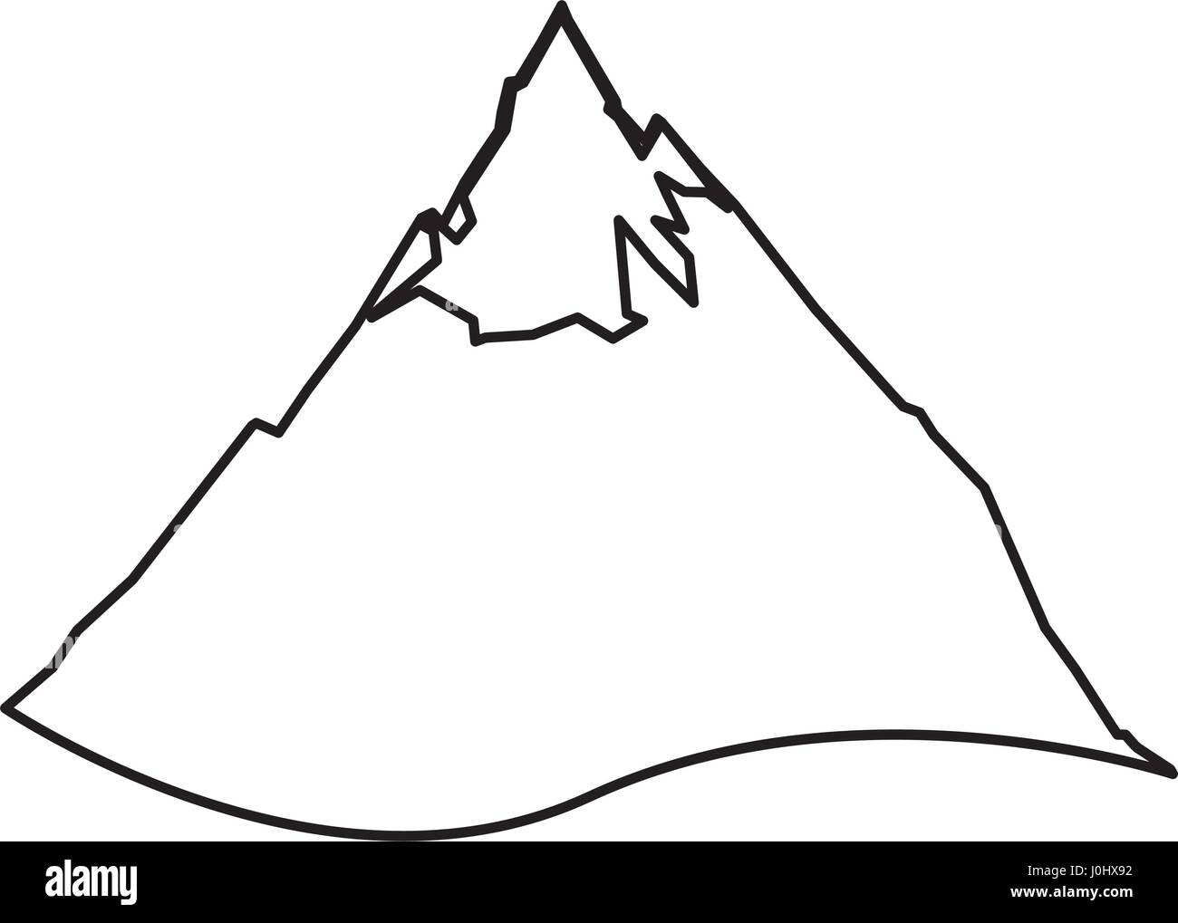 Mountain peak isolated - Stock Image