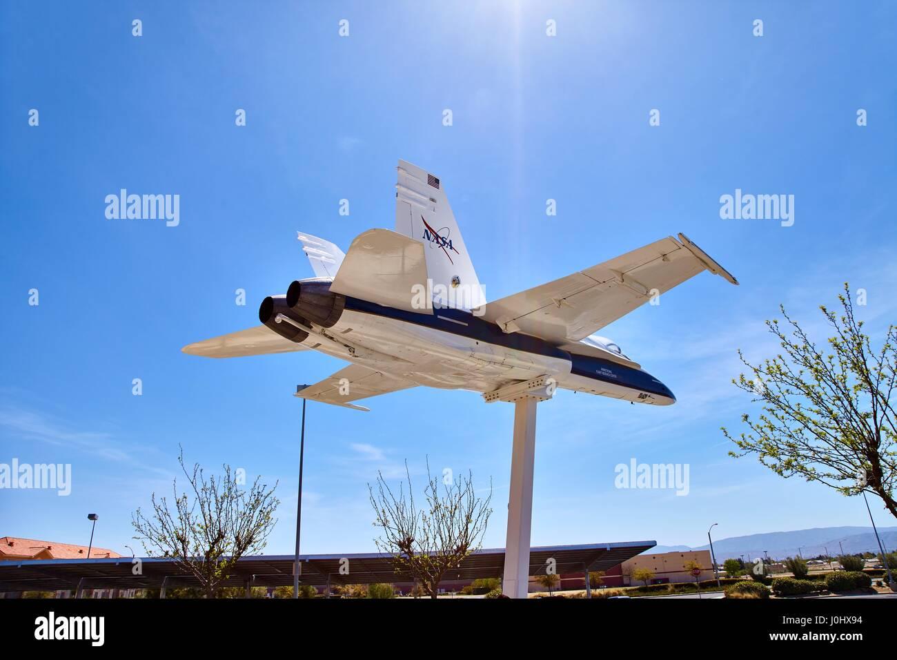 JetHawks, Lancaster, California, USA - April 5, 2017 :JetHawks, Lancaster, California, USA. The NASA F18 aircraft - Stock Image