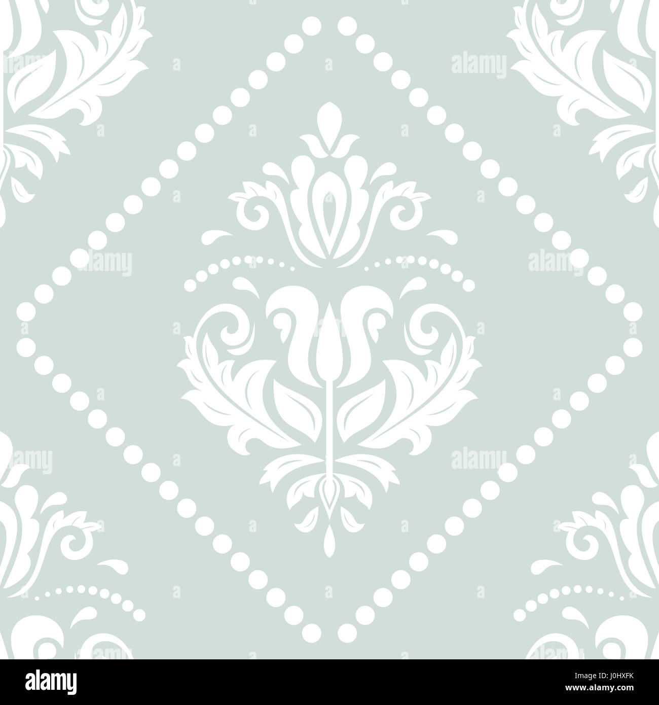 Damask Classic Light Blue And White Pattern Seamless Abstract Background With Repeating Elements