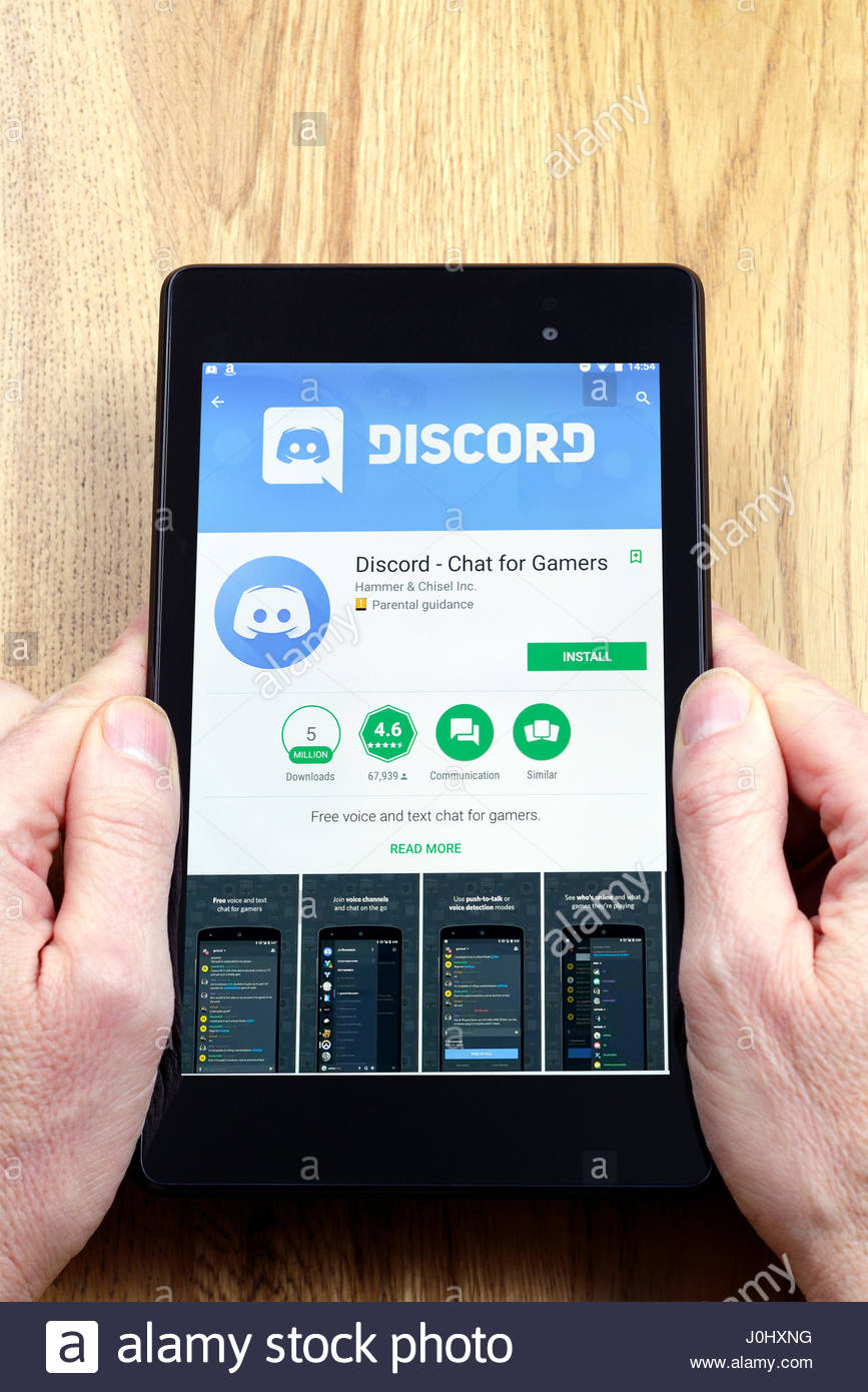 Discord app on an android tablet PC Dorset England UK - Stock Image
