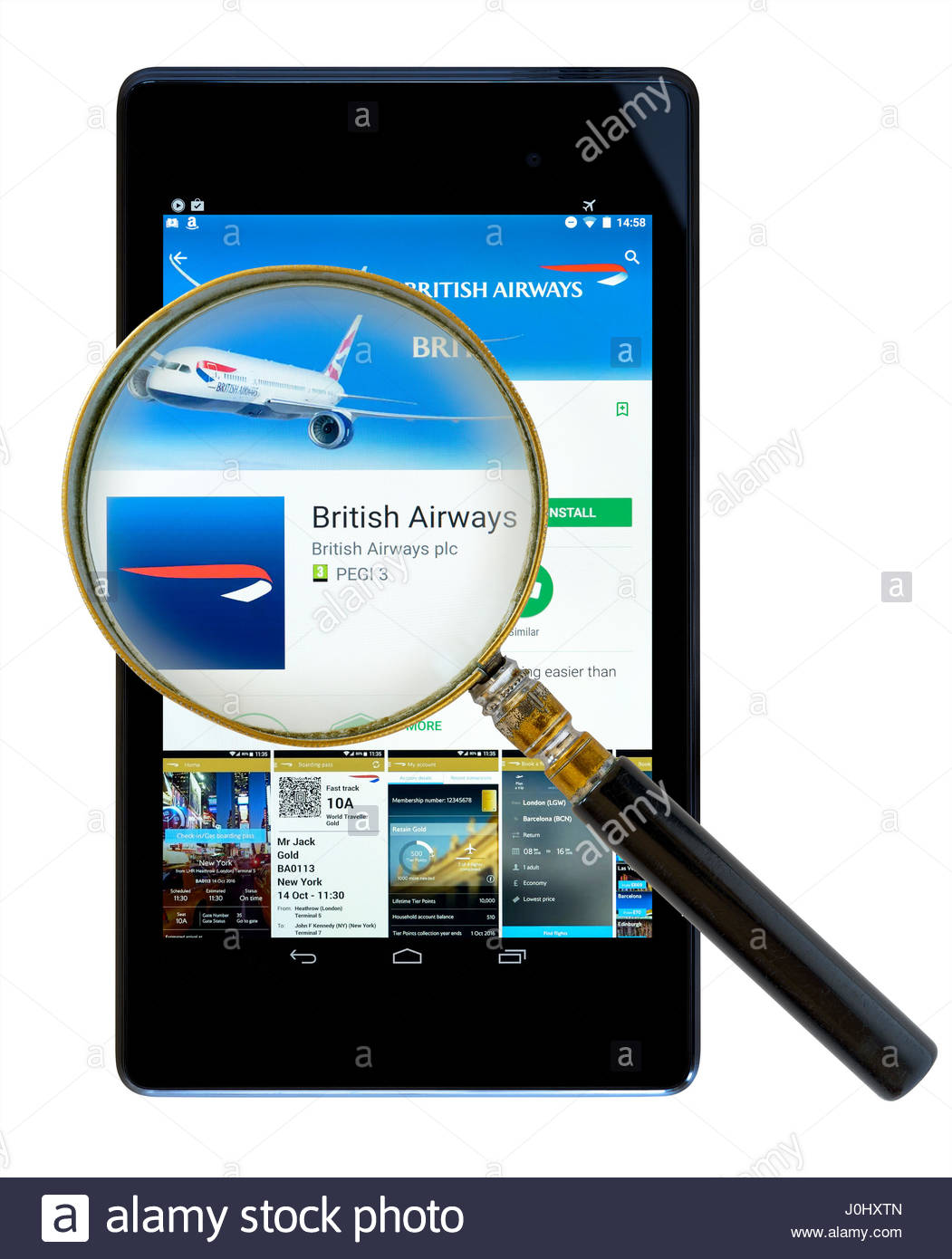 British Airways app on an android tablet PC Dorset England UK - Stock Image