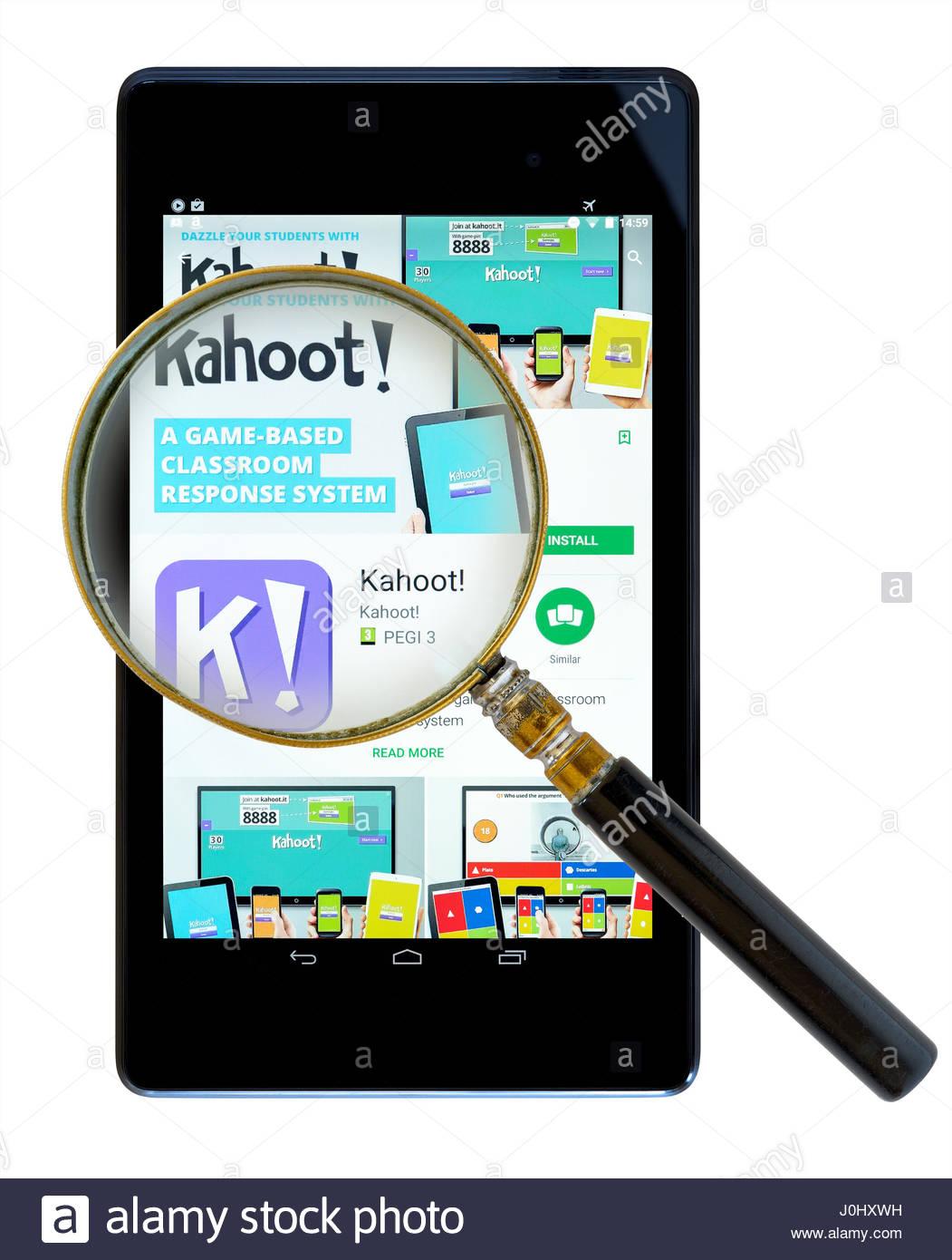 Kahoot! app on an android tablet PC Dorset England UK Stock Photo