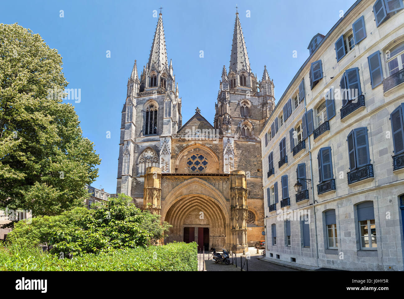 Gorhic facade of Sainte-Marie de Bayonne cathedral in Bayonne, Nouvelle Aquitaine, France - Stock Image
