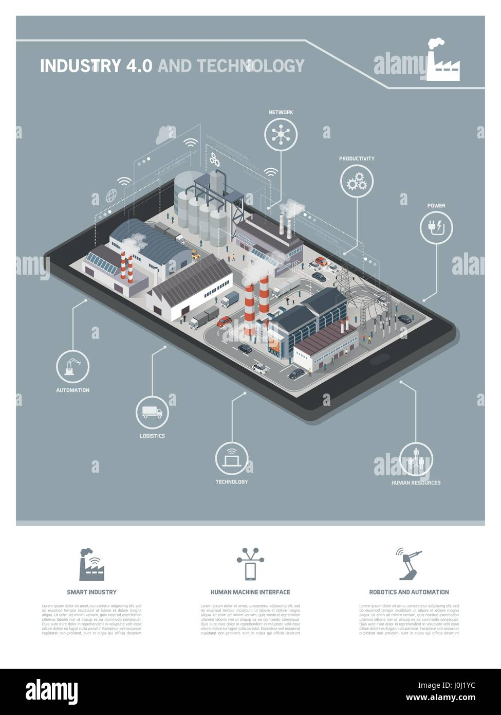 Isometric industrial park with people and vehicles on a smartphone, industry 4.0 and augmented reality concept Stock Vector