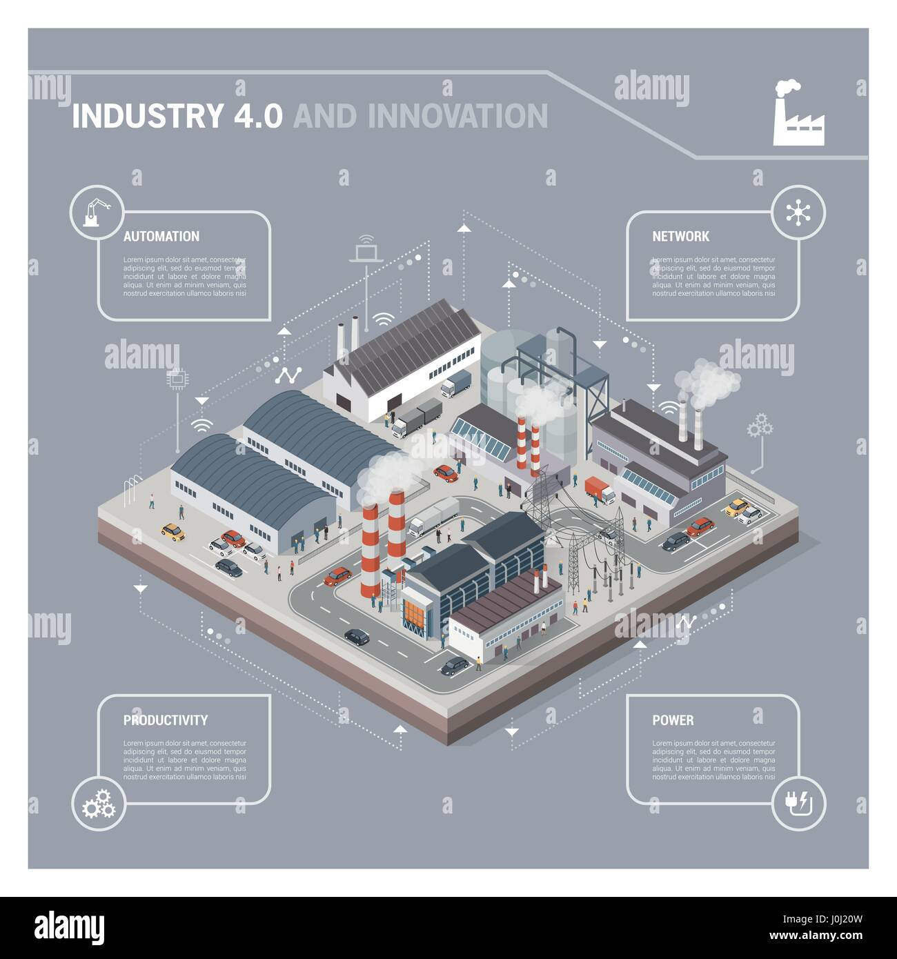 Isometric contemporary industrial park with factories, power plant, workers and transport: industry 4.0 infographic - Stock Image