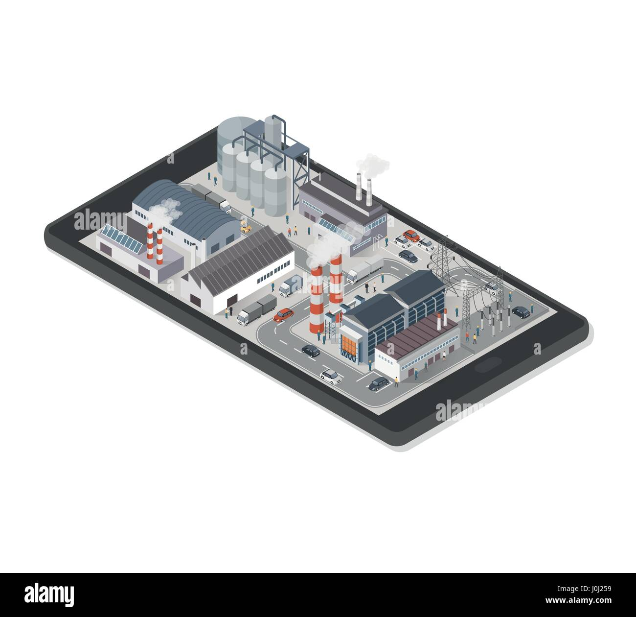 Isometric industrial park area with factories, power plant and people on a smartphone, industry and augmented reality - Stock Vector